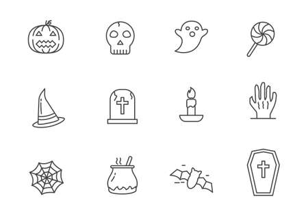 Set of cute Halloween icon in line style isolated on white background. Halloween doodle icons