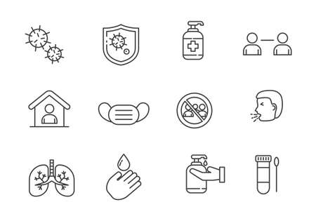 Set of coronavirus icons in line style isolated on white background. Coronavirus doodle icons