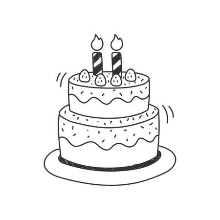Birthday cake doodle illustration isolated on white background