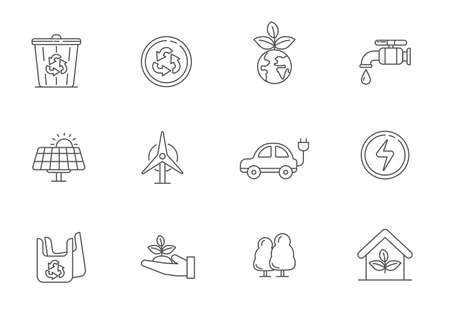 Set of ecology element vector illustration with line style isolated on white background. Ecology line icons collection