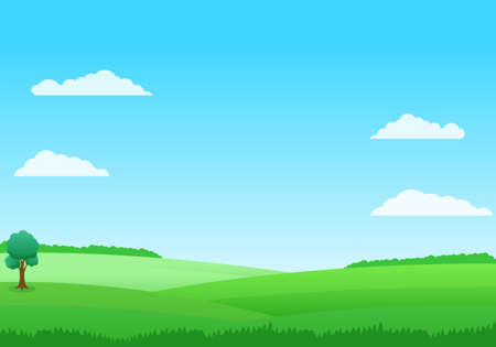 Simple and beautiful field landscape vector with green grass and blue sky suitable for illustration or background