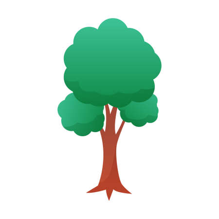 Tree vector illustration with simple cartoon style isolated on white background