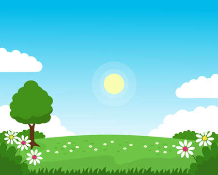 Spring nature landscape vector with green grass, blue sky, and flowers suitable for background or illustration Illusztráció
