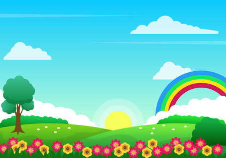 Colorful spring landscape vector with flowers, rainbow and grass suitable for kids background or illustration Illusztráció