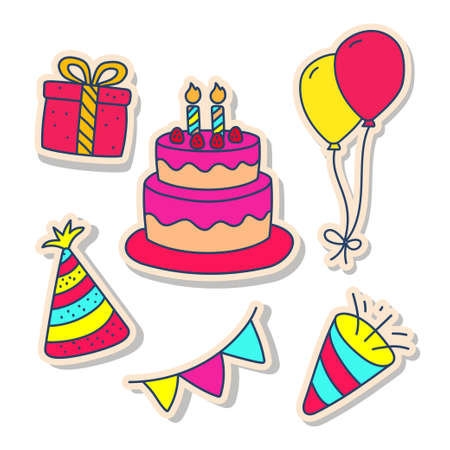Set of birthday element vector illustration in cute sticker doodle style isolated on white background