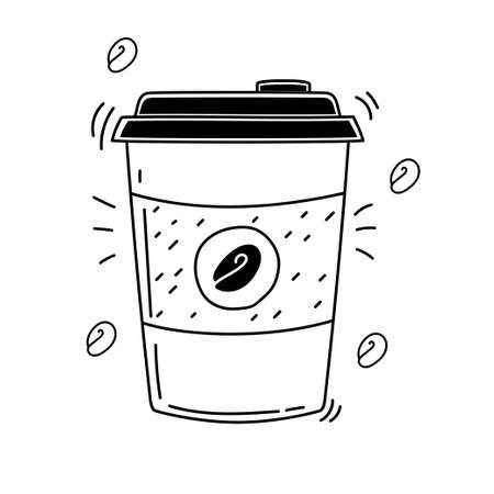 Cute takeaway coffee cup vector illustration in doodle style isolated on white background Ilustração