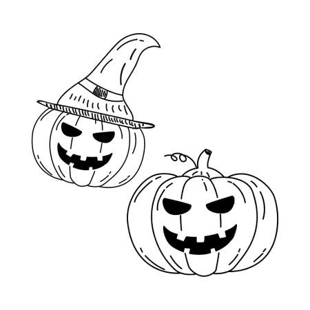 Halloween pumpkin vector illustration in doodle hand drawn style with black color isolated on white background Illusztráció