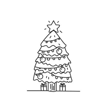 Christmas tree vector illustration in doodle style isolated on white background