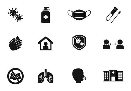 Set of coronavirus related icons in black solid design isolated on white background