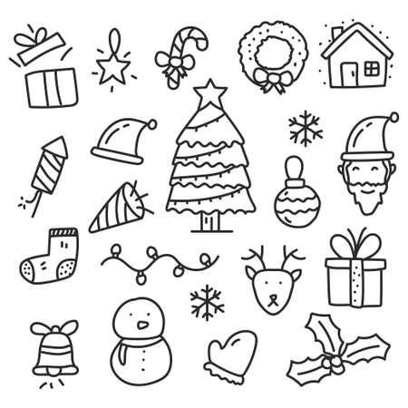 Set of Christmas vector illustration in doodle hand drawn style isolated on white background. Christmas doodle elements Illusztráció