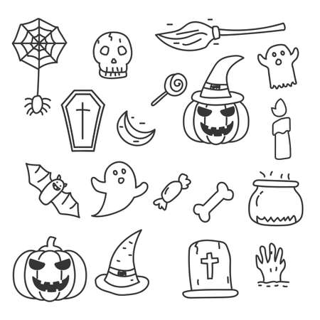 Set of Halloween vector illustration in doodle hand drawn style isolated on white background. Halloween doodle elements