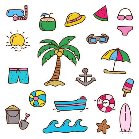 Set of cute beach elements in doodle style with colorful design isolated on white background