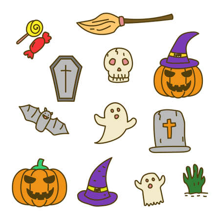 Set of cute Halloween doodle illustration with colorful design isolated on white background Stock fotó - 157043631