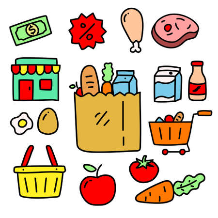 Set of grocery store vector illustration contains foods, shop, trolley and more isolated on white background. Colorful grocery store doodle collection