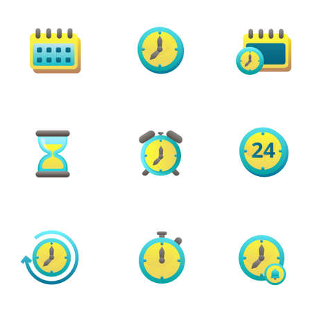 Set of time and date icons in colorful gradient style such as clock, calendar isolated on white background Illusztráció