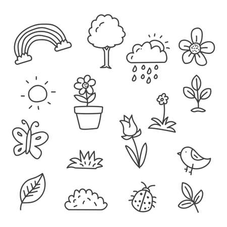 Set of spring doodle vector illustration such as flowers, leaf, butterfly sun and more