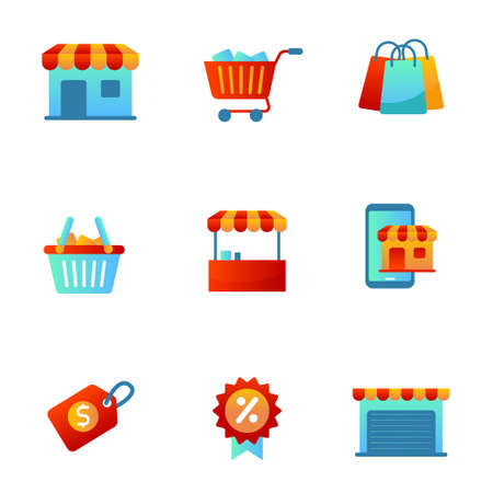 Store and market icon set in colorful gradient style isolated on white background