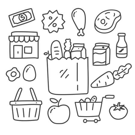 Set of grocery store doodle illustration with black color contains, shop vector, vegetables and foods isolated on white background