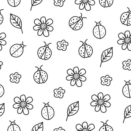 Cute ladybug and flowers seamless pattern with doodle style suitable for background or textile