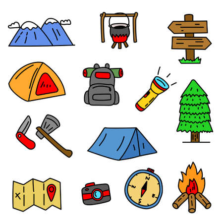 Set of camping related cartoon illustration with hand drawn style isolated on white background. Colorful camping doodle illustration Illusztráció
