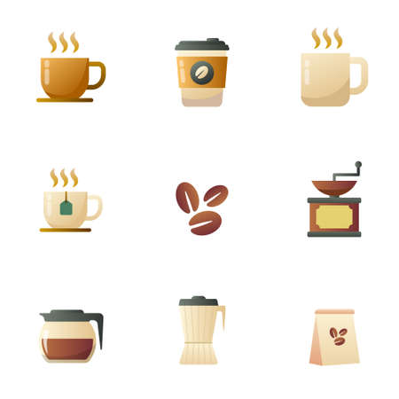 Set of coffee icon in gradient style isolated on white background. Coffee vector illustration collection Illusztráció