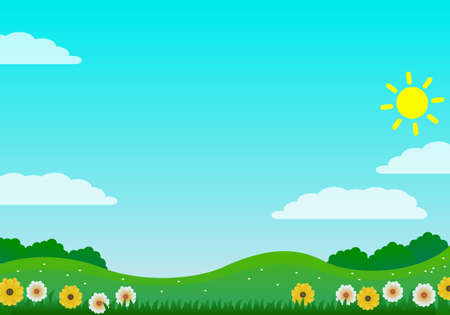 Colorful and bright nature landscape vector illustration with flowers, green grass and bright sky suitable fun theme background