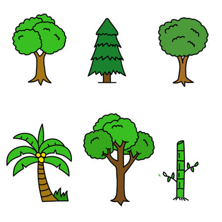 Set of tree cartoon illustration in cute hand drawn style isolated on white background