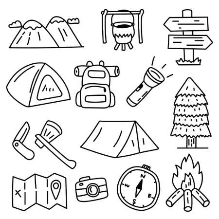 Set of camping related vector illustration in doodle hand drawn style with black color isolated on white background