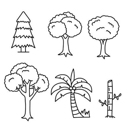 Set of tree doodle illustration isolated on white background suitable for coloring page too Illusztráció