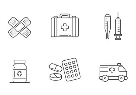 Set of first aid icons in linear style isolated on white background
