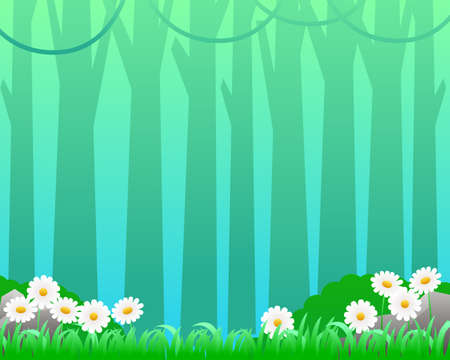 Grasses and flowers with tree silhouette vector illustration suitable for spring background or wallpaper Illusztráció