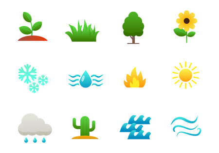 Set of nature elements icons such as flower, plant, sun and more isolated on white background Illusztráció
