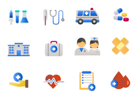 Set of hospital and healthcare icons with gradient style isolated on white background Illusztráció