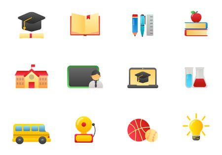 Set of education and school related icons in gradient style isolated on white background such as school building, book and more