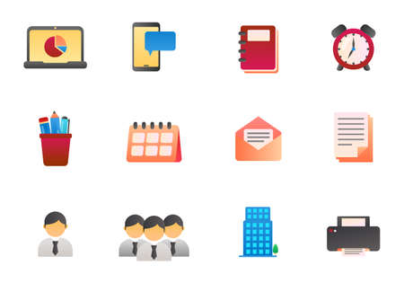 Set of office related vector illustration isolated on white background. Office icons in gradient style Illusztráció