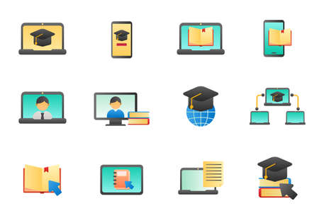 Set of online education vector illustration isolated on white background. Online education icons in gradient style