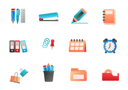 Set of stationery vector illustration with colorful design isolated on white background. Stationery icons Illusztráció