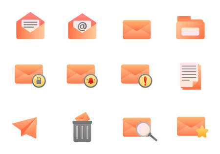 Set of mail icons in gradient style isolated on white background. Email and envelope vector illustration