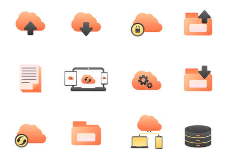 Set of cloud storage icon in gradient style isolated on white background Illusztráció