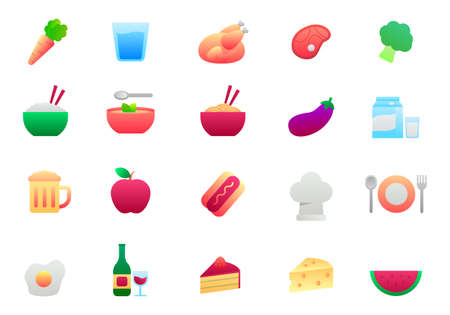 Set of gastronomy and food icons in gradient style. Simple foods vector illustration isolated on white background