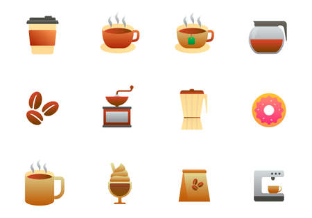 Set of coffee vector illustration with simple design isolated on white background. Coffee gradient icon collection