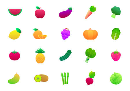 Set of fruit and vegetable vector illustration isolated on white background. Fruits and vegetables gradients icon collection