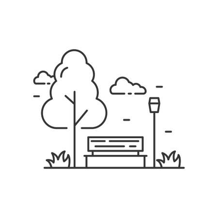 Simple park vector illustration with black line design isolated on white background. Linear park icon