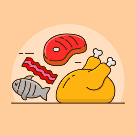 Meats concept vector illustration with colorful design. Meats linear color icon Illusztráció