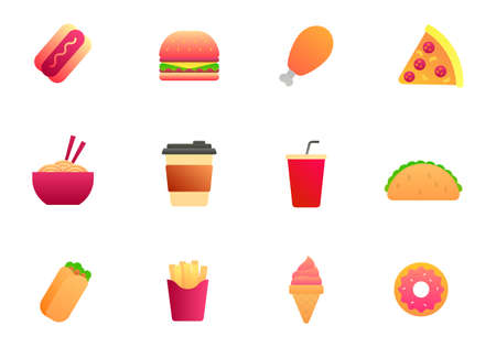 Set of fast food vector illustration with simple design isolated on white background. Gradient style of fast food icon set