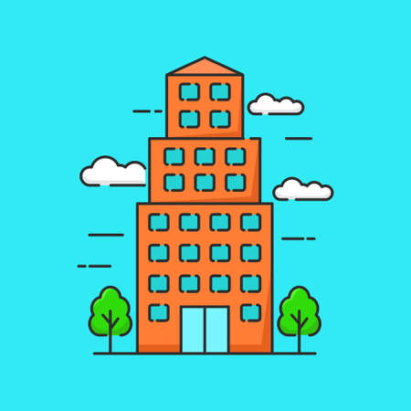 Simple building vector illustration with hand drawn style isolated on blue background. Linear color style of building icon