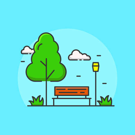 Simple and cute park vector illustration with blue background. Park icon in linear color style