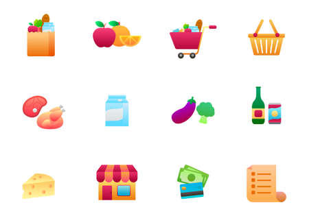 Set of grocery store related vector illustration isolated on white background. Grocery store gradient style icon collection