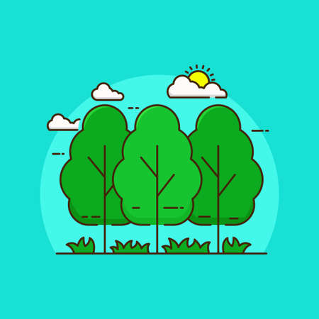 Simple forest vector illustration isolated on blue background. Linear style of forest icon