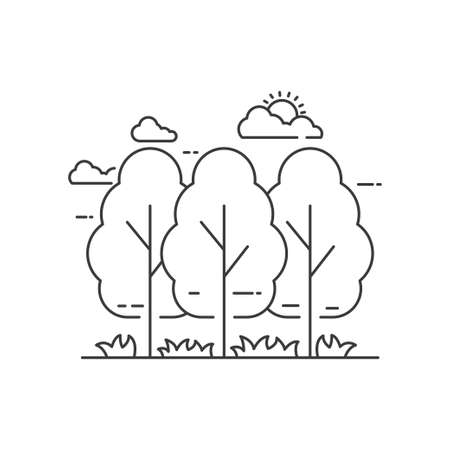 Simple forest vector illustration with black line design isolated on white background. Forest linear icon